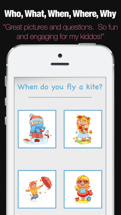 WH Questions Preschool Speech and Language Therapy Apps for iPhone/iPad screenshot