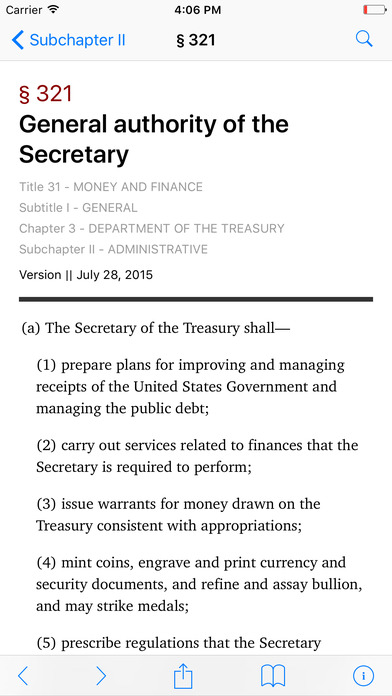 Money and Finance (Title 31 United States Code) iPhone Screenshot 2