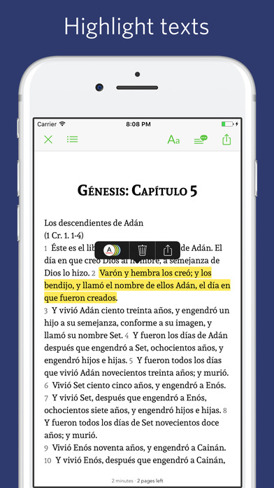 Screenshot for Spanish Bible - audio, sync, transcript in United States App Store
