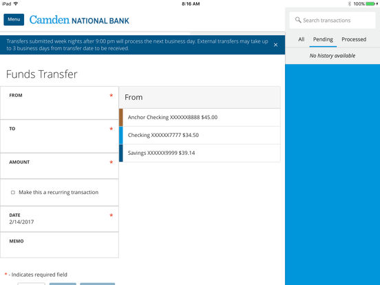Camden National Mobile Banking iPad Screenshot 3