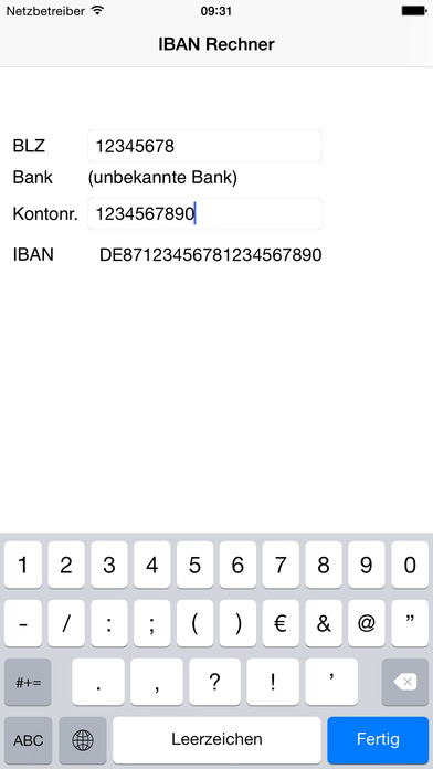 Bankleitzahlen iPhone Screenshot 4