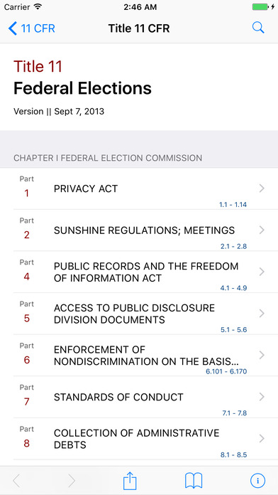 Title 11 Code of Federal Regulations - Federal Elections iPhone Screenshot 1