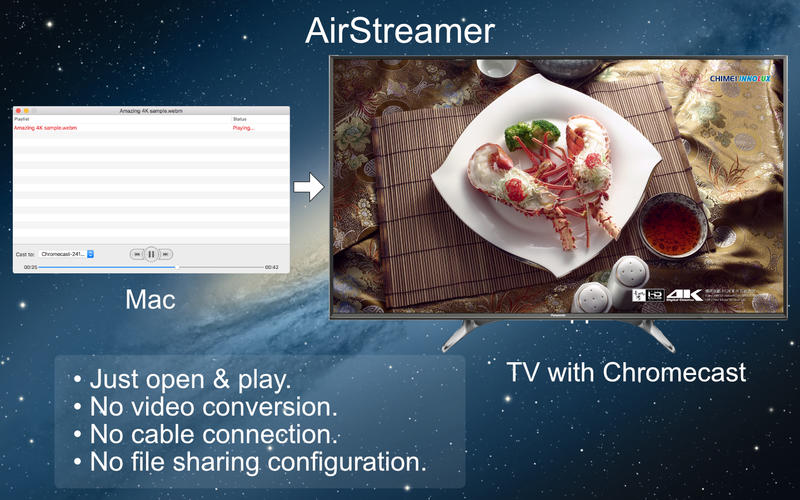 AirStreamer - for Google Chromecast for Mac 1.2 激活版 - 优秀的AirPlay视频流播放工具