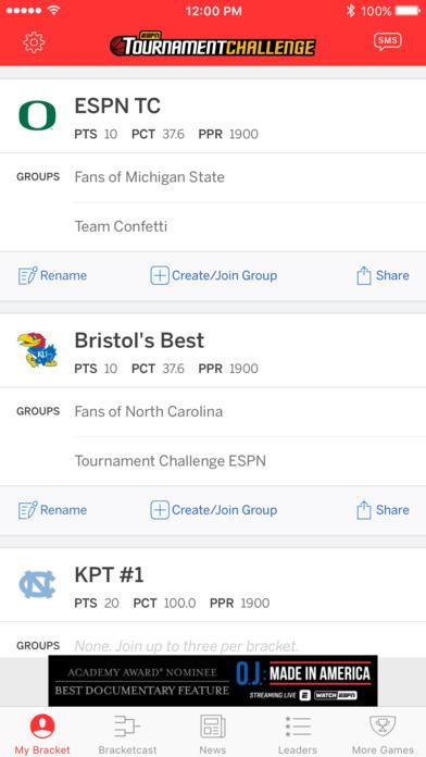 ESPN Bracket Bound 2011 iPhone Screenshot 5