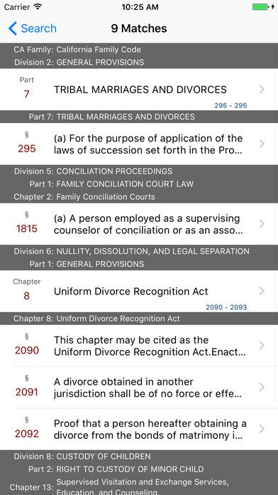 California Family Code (CA Law) iPhone Screenshot 5