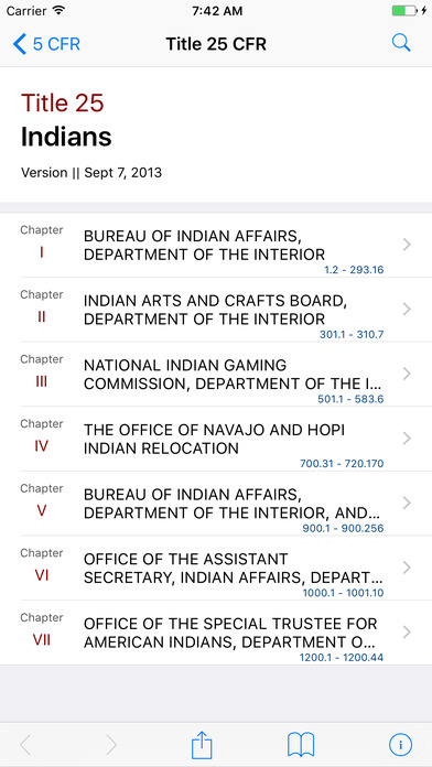 Title 25 Code of Federal Regulations - Indians iPhone Screenshot 1