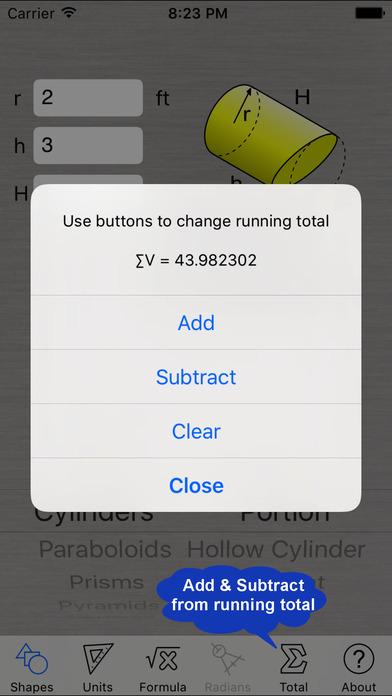 Volume Calculator iPhone Screenshot 4