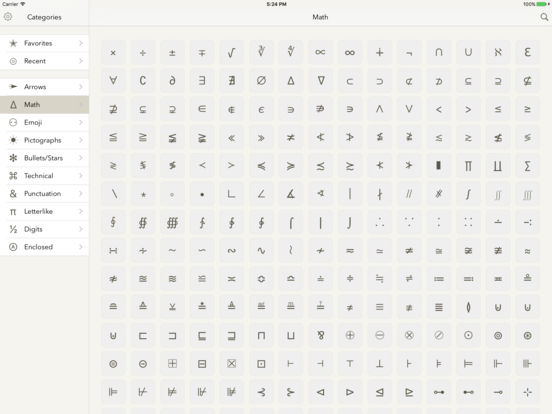Symbols — special text characters Screenshots