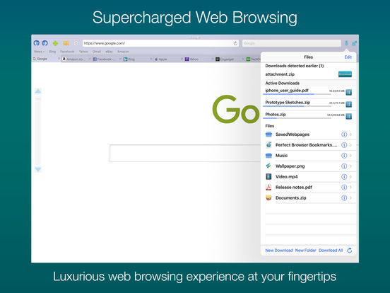 Perfect® Web Browser - w/ Dropbox & Drive support Screenshot