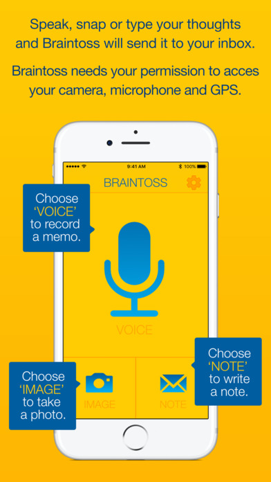 Braintoss - Your thoughts straight into your inbox Screenshots
