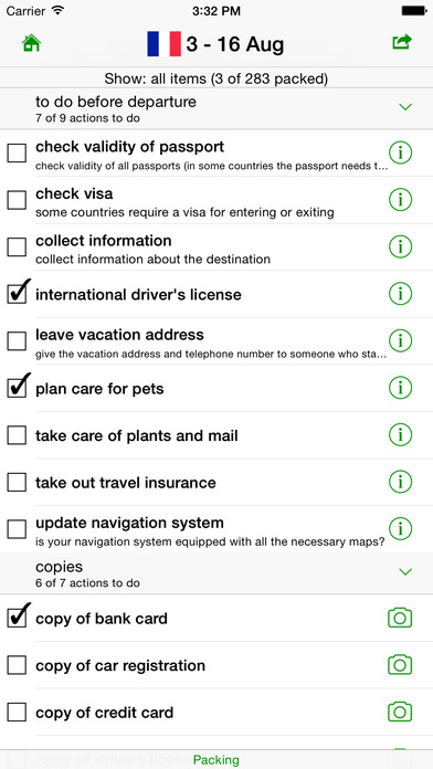 GetPacked: packing list Screenshots