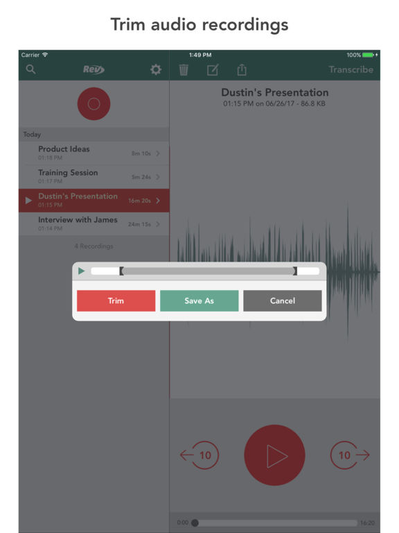 Rev voice recorder audio transcription on the app store Iplan app