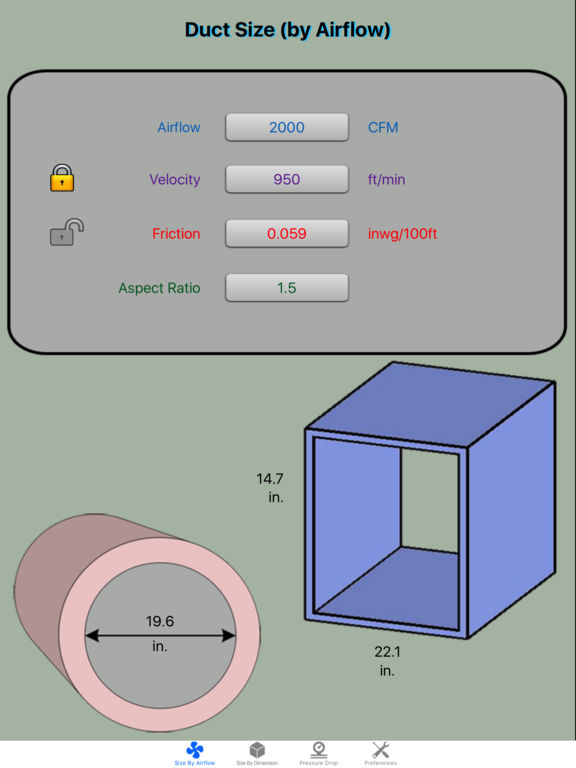 Ventilation Duct Sizing Calculator : Duct calculator elite ducting size calc for hvac on the