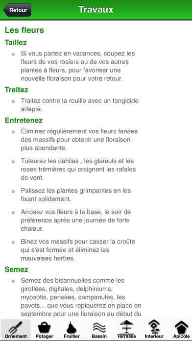 Calendrier des travaux du jardin app report on mobile action for Calendrier du jardin
