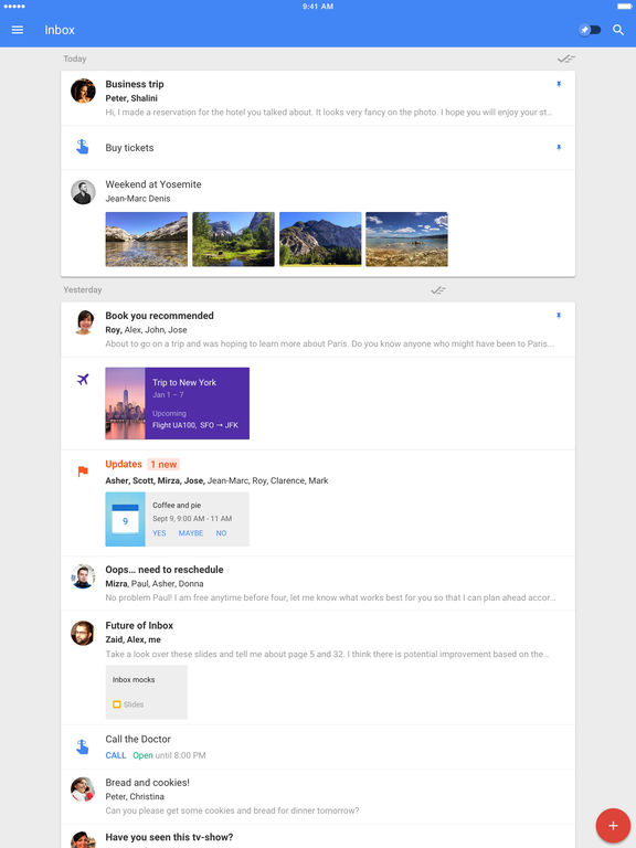 Screenshots of Inbox by Gmail for iPad