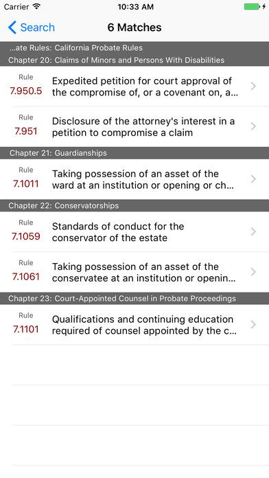 California Probate Rules (CA Rules of Court Title 7) iPhone Screenshot 5