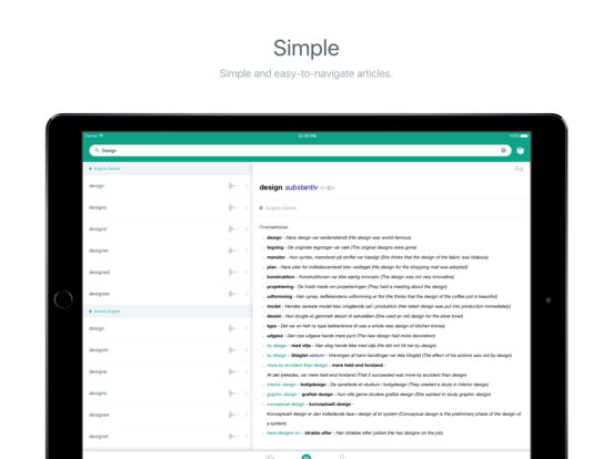 Ordbogen Online iPad Screenshot 2