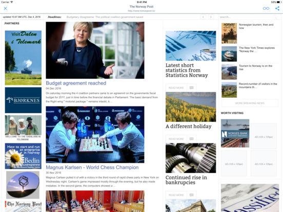 NORSKE AVISER OG TIDSSKRIFTER iPad Screenshot 1