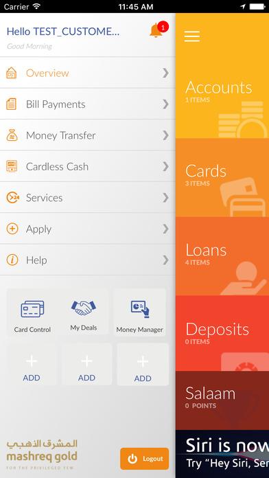 Mashreq UAE iPhone Screenshot 2