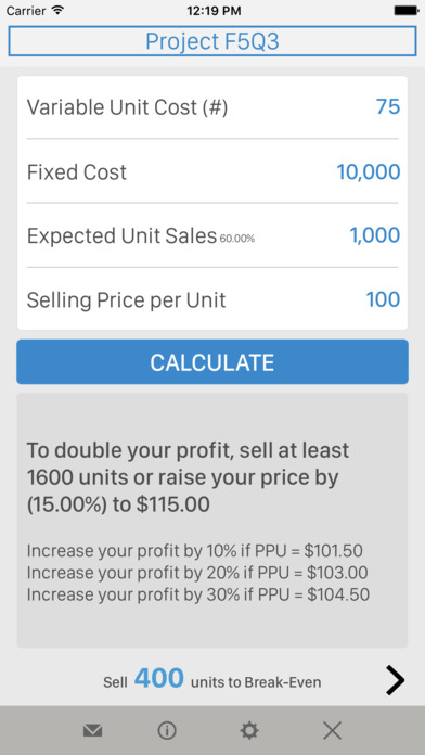 Break-Even Analysis iPhone Screenshot 2