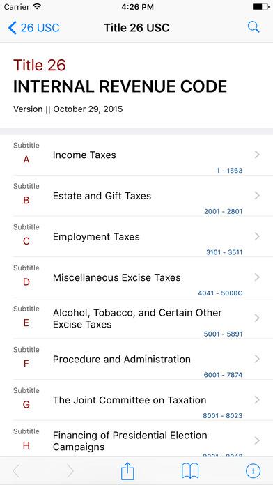 Internal Revenue Code (Title 26 United States Code) iPhone Screenshot 1