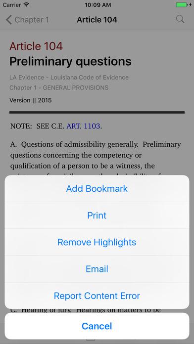 Louisiana Code of Evidence (LA Law) iPhone Screenshot 3