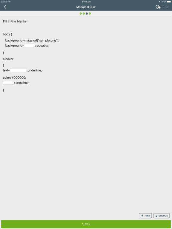 Screenshots of Learn CSS for iPad