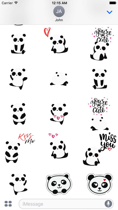 App cute Panda Love Sticker Pack XAABtizp on ios 8 iphone 6 plus apps
