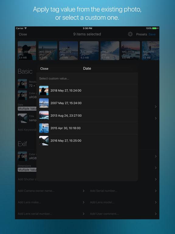 MetaGear - metadata viewer/editor, Exif, IPTC Screenshots