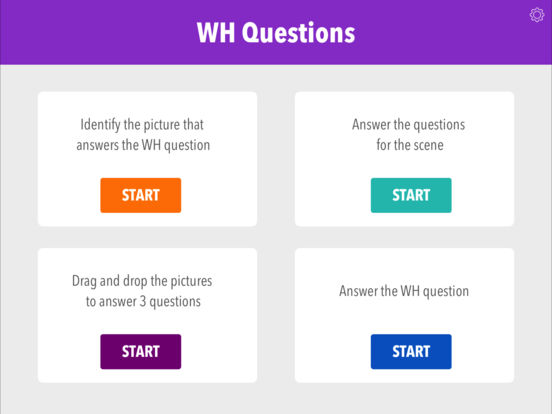 Screenshot #1 for Wh Questions by Teach Speech Apps