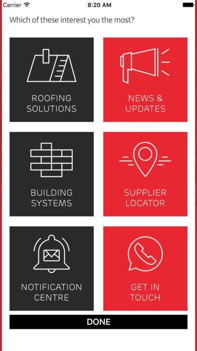 Screenshot of Marley Roofing App