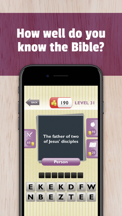 Screenshots of Bible Trivia - Christian Bible test to grow faith with God. Guess Jesus quotes, audio clues and more for iPhone