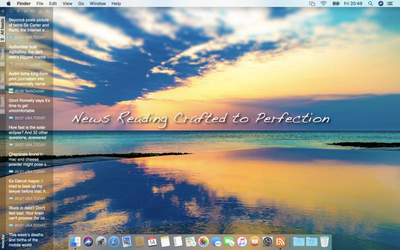 Screenshot #1 for NewsBar RSS reader