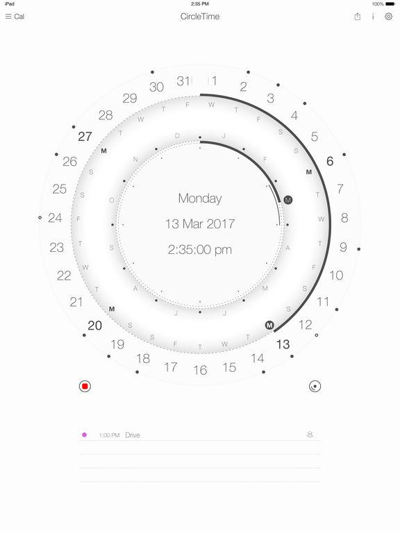 Calendar round, event planner & time tracker Screenshots