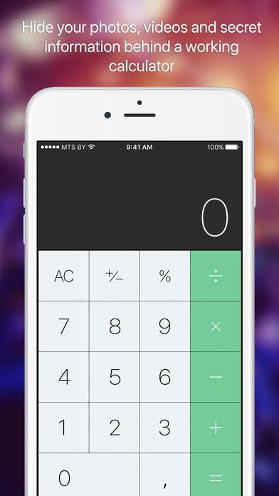Secret photo calculator
