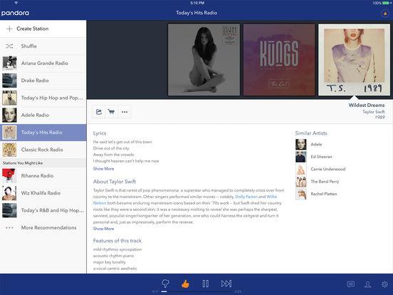 Screenshots of Pandora - Music & Radio for iPad