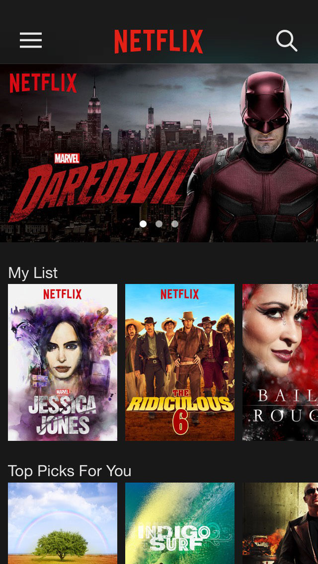 Screenshots of Netflix for iPhone