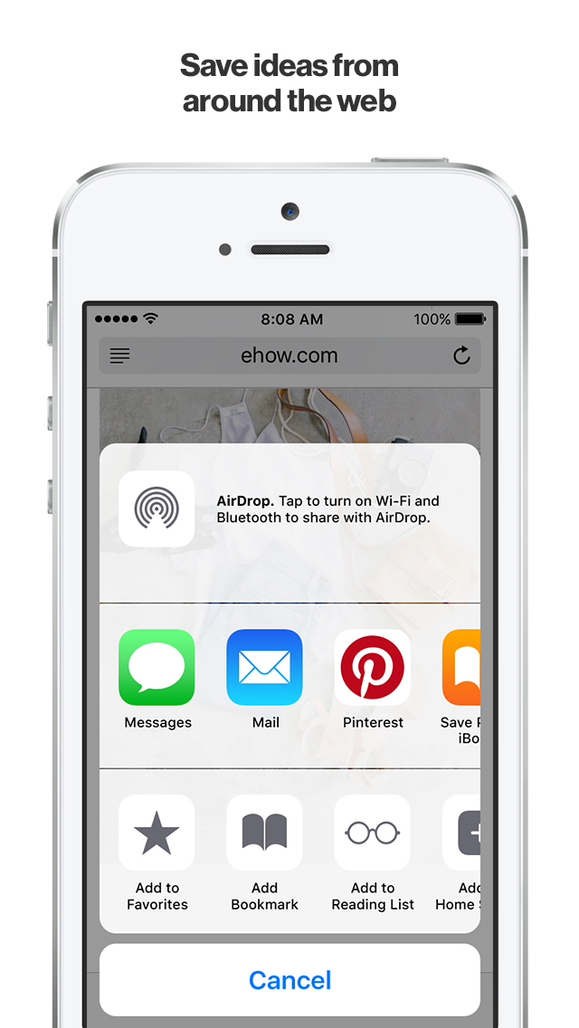 Screenshots of Pinterest for iPhone