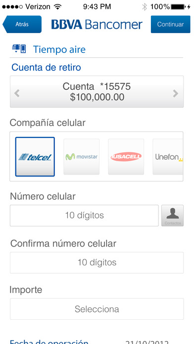 Bancomer móvil iPhone Screenshot 5