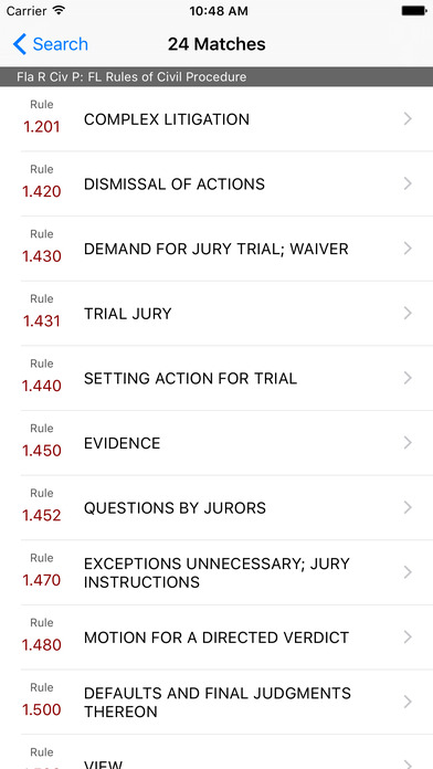 Florida Rules of Civil Procedure (FL Law) iPhone Screenshot 5