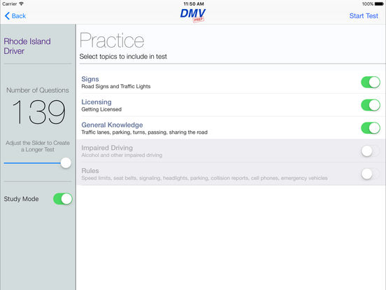 DMV Test Prep - Rhode Island iPad Screenshot 2