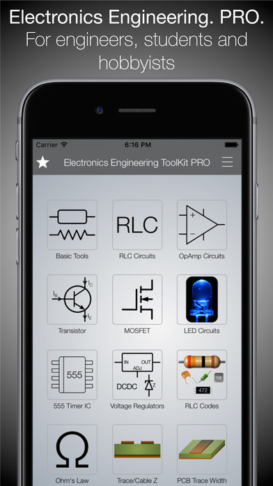 Scientific Electronics Circuit Calculator Basic iPhone Screenshot 1