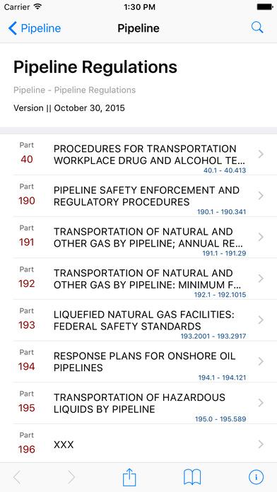 Pipeline Regulations iPhone Screenshot 1