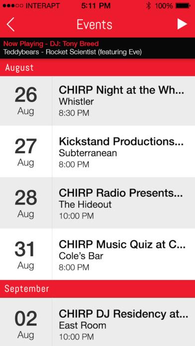 CHIRP Radio iPhone Screenshot 3