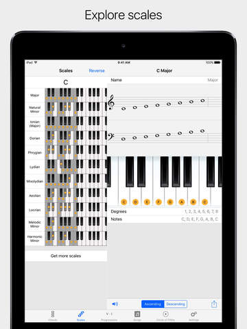 Chords and Scales - interactive scale, chord and chord progression reference dictionary for piano screenshot