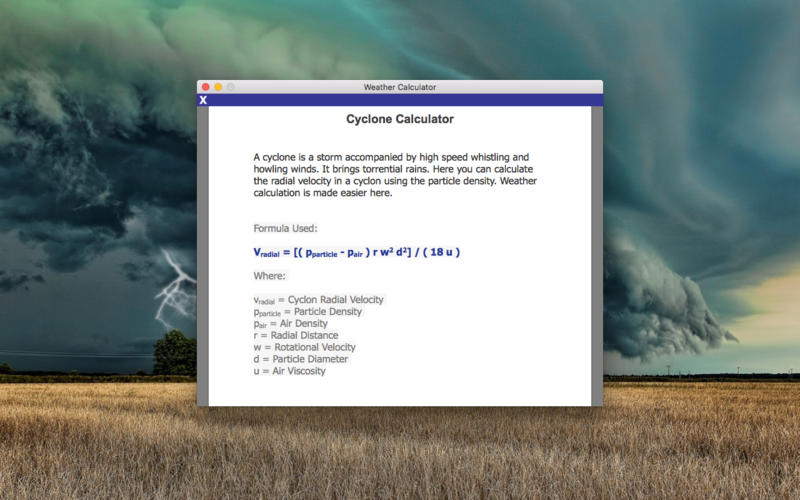 Weather Calculator Screenshots