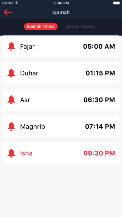 Screenshot of Al-Maqasid App
