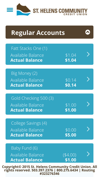 St. Helens Community Federal Credit Union iPhone Screenshot 2