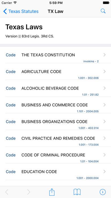 Texas Statutes (TX Law) iPhone Screenshot 1