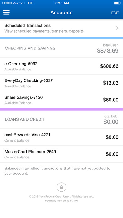 Navy Federal Credit Union iPhone Screenshot 3